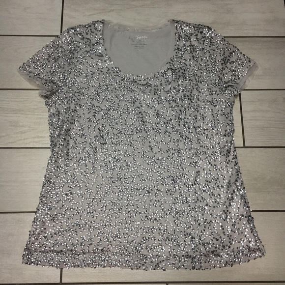 3dc0ed2a07 Chico s Tops - Chico s Silver Sparkle Sequin Short Sleeve Top